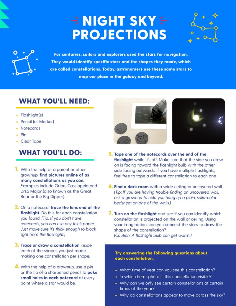 Download Instructions to make your own  night sky projections
